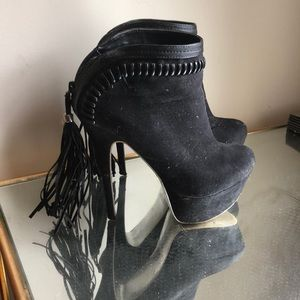 Shoes - Tassel ankle suede boots